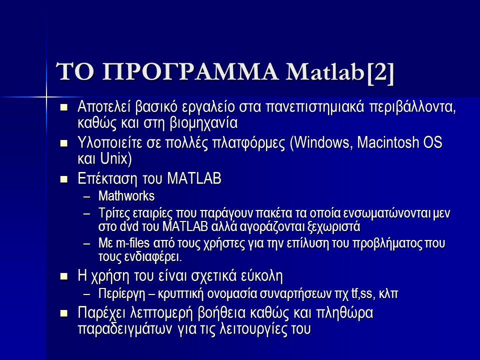 ΤΟ ΠΡΟΓΡΑΜΜΑ Matlab[2] Αποτελεί βασικό εργαλείο στα πανεπιστημιακά περιβάλλοντα, καθώς και στη βιομηχανία.